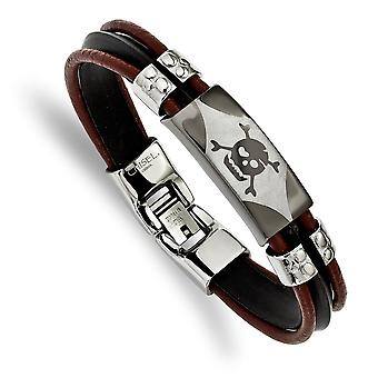 Stainless Steel Polished Ip plated Skull Faux Leather and Silocone Cord Bracelet 8 Inch Jewelry Gifts for Women