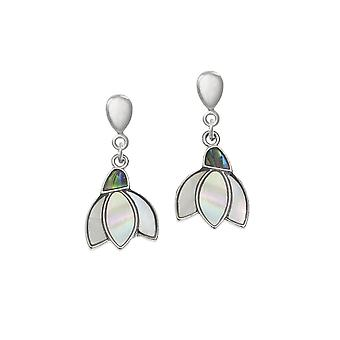Eternal Collection Mother Of Pearl Snowdrop Silver Tone Drop Screw Back Clip On Earrings