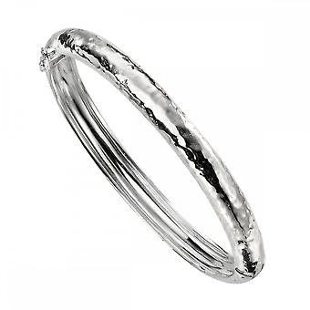 Beginnings Sterling Silver Hammered Oval Hinged Bangle B5185