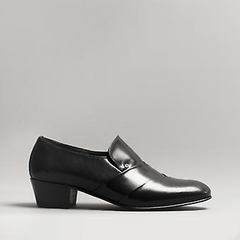 Club Cubano Rico Mens Smooth Leather Cuban Heel Shoes Black