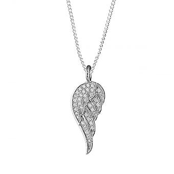 Eternity Sterling Silver Cubic Zirconia Angel Wing Pendant And 18'' Rhodium Plated Chain