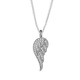 Evigheden sterling sølv cubic zirconia engel fløj vedhæng og 18 ' ' rhodium forgyldt kæde
