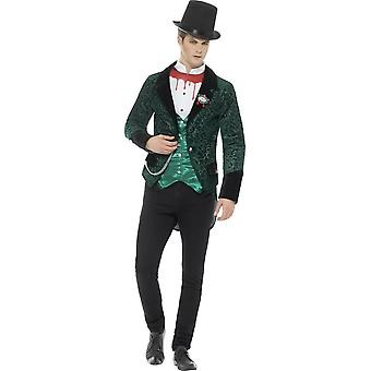 Deluxe Victorian Vampire Costume, Green, with Jacket, Attached Mock Shirt & Brooch