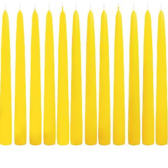 12 Lemon Yellow Tapered Candles - 25cm Tall - 2.3cm Wide
