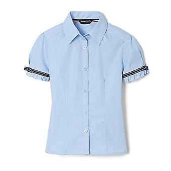 French Toast Little Girls' Short Sleeve Ribbon Bow Blouse,, Light Blue, Size 5