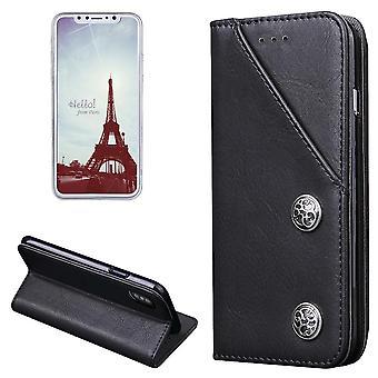 لiPhone XS، X محفظة القضية، الحديثة البرونزية غطاء جلدي واقية دائمة، أسود