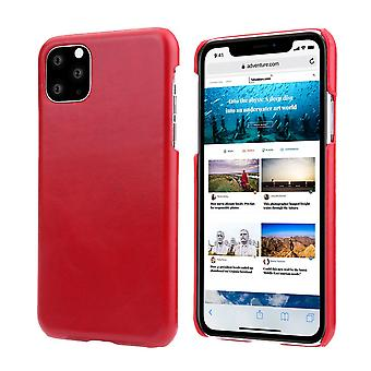 For iPhone 11 Case Elegant Genuine Leather Back Shell Protective Cover Red