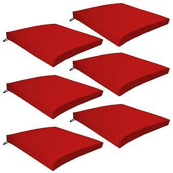 Gardenista Puutarha tuoli Istuintyynyt | Slip Free Hypoallergenic Tyyny | Vedenkestävä paksu laatu tyyny tyynyt | Suuri sisätiloihin ja ulkokäyttöön | Turvalliset siteet | 6 kpl (punainen)
