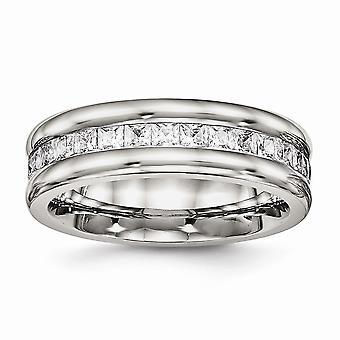 7mm aço inoxidável engravable polido com CZ Cubic Zirconia Simulado Diamante Anel De Joias Para Mulheres - Ring Siz