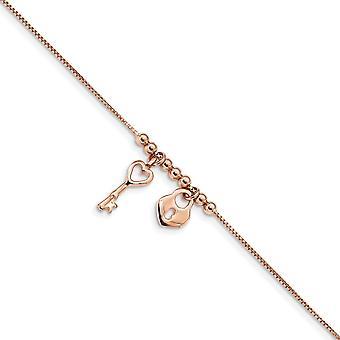 925 στερλίνα ασημένια Rose τόνος στιλβωμένο αγάπη καρδιά Lock με 1Σε αστράγαλος 9 ιντσών κοσμήματα δώρα για τις γυναίκες