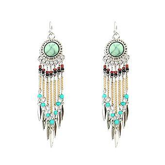 Multi Chain Drop Earrings - Green Bohemian Style