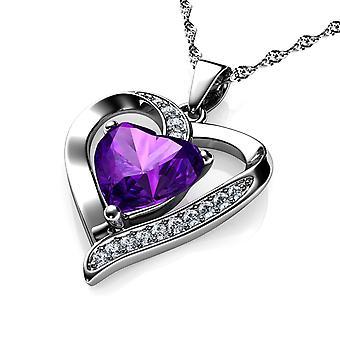 Dephini purple heart necklace - 925 sterling silver cz crystal pendant