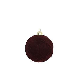 Light & Living Christmas Bauble 10x10cm Adilson Glass Velvet Burgundy