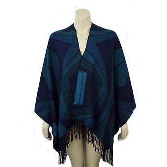 Ladies Poncho Wrap med stripe designmönster 91531