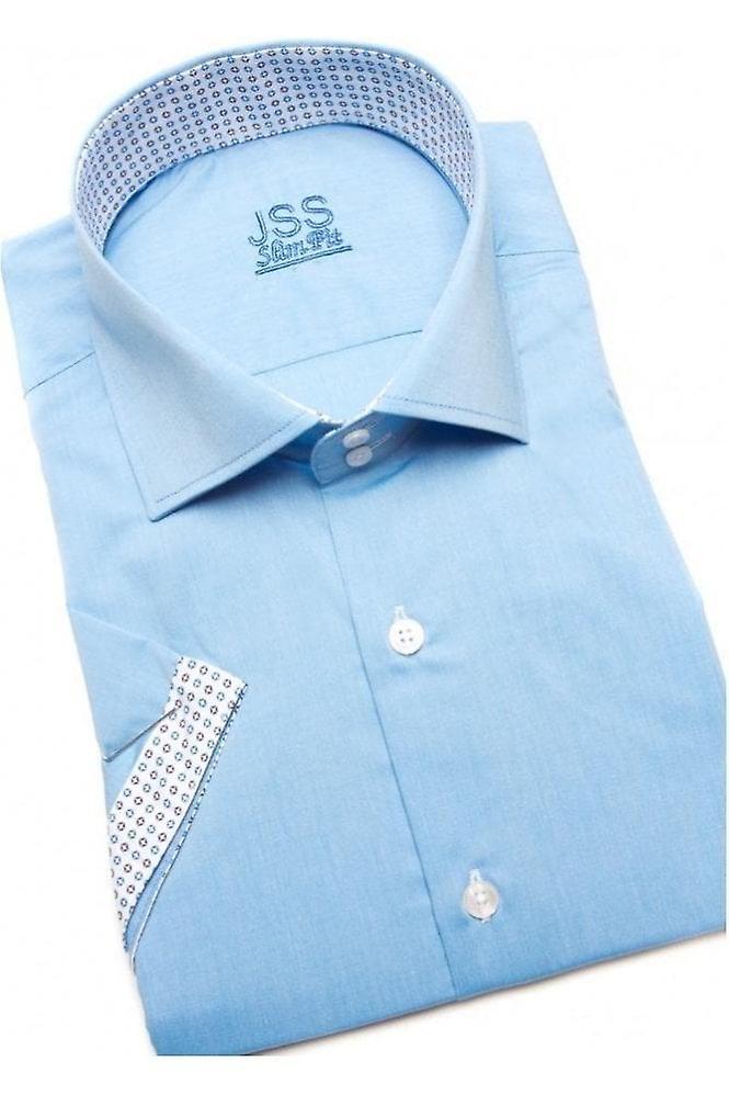 JSS Plain Sky Blue Slim Fit Short Sleeve Shirt With White Trim