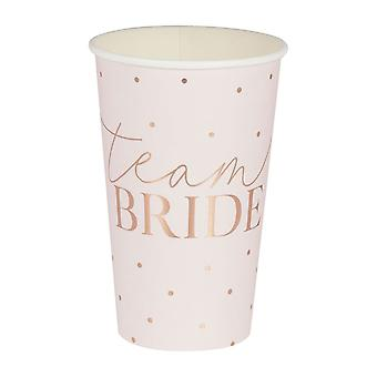 Rose Gold Team Bride Tall Hen Party Cups x 8 16oz