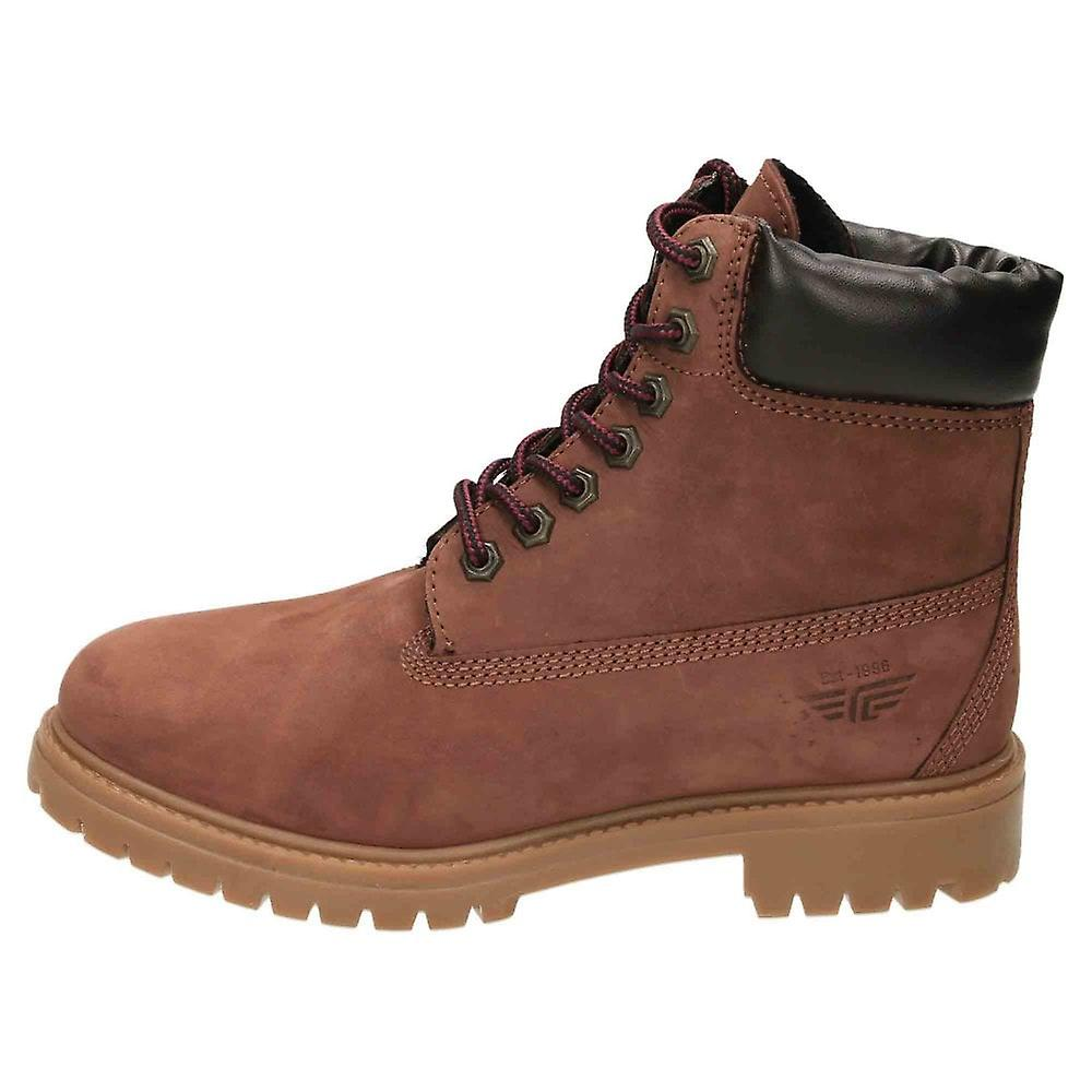 Red Tape Lace Up Bot Boots Nubuck Cuir Rouge