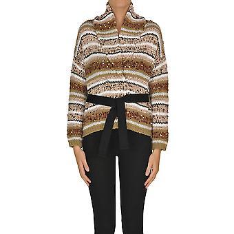 Brunello Cucinelli Ezgl077030 Women's Beige Cotton Cardigan