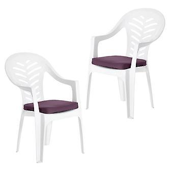 Cojines de asiento de jardín Gardenista ? Para la silla al aire libre de Resol Palma Almohadillas de asiento de repuesto hipoalergénicas ? Tejido resistente al agua ? Ideal para exteriores . 2 Piezas (Púrpura)