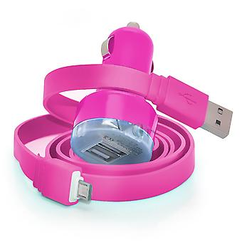 Huawei Honor Holly In Car Dual Port 2.1 Amp Bullet USB Charger + Micro USB Data Sync Cable (Hot Pink)