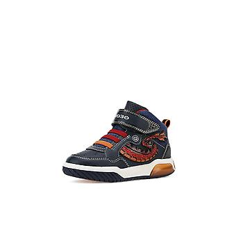 Geox j inek navy & red flame high-top boots
