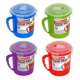 Heat & Eat Microwave Mug, Set of 4 Assorted Colours