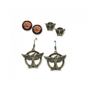 Hunger Games Unisex Adults Mockingjay Earrings (Set Of 3)