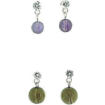 925 Silver Crystal Amethyst & Quartz Ball Drop Earrings - Gift Set - Pack of 2