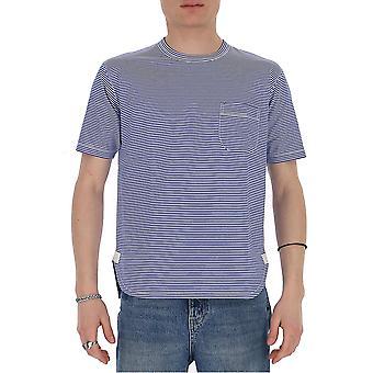 T-shirt en coton blanc/bleu De Junya Watanabe T0170513