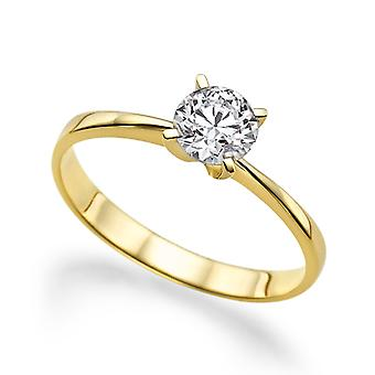 Beautiful 0.50ct White Sapphire Ring Yellow Gold 14K