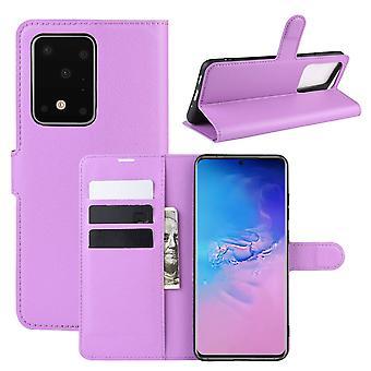 Für Samsung Galaxy S20 Ultra Fall, lebendige PU Leder Brieftasche Abdeckung mit Ständer, lila