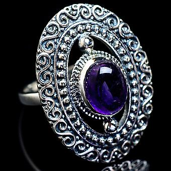 Amethyst Ring Size 6.25 (925 Sterling Silver)  - Handmade Boho Vintage Jewelry RING4824