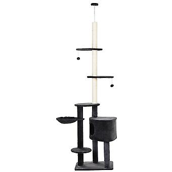 PawHut Adjustable Height Floor-To-Ceiling Vertical Cat Tree with Carpeted Platforms, Condo, Sisal Rope Scratching Areas