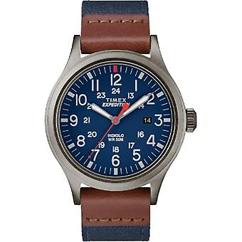 Tw4B14100, Timex Tw4B14100 Hombres'S Expedición Scout Azul Correa de Nylon con reloj de cuero marrón