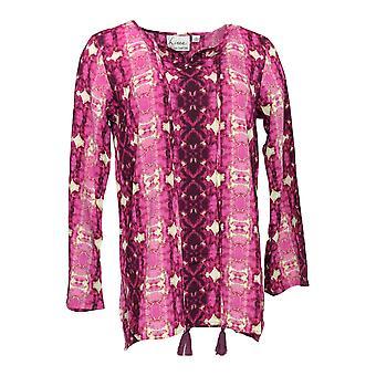 Linea por Louis Dell'Olio Women's Top Tie Dye Printed Blouse Purple A306411