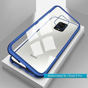 Para Xiaomi Redmi Note 9S /9 Pro Magnet / Metal / Vidro Estojo de Estojo Transparente / Caixa Azul Manga nova