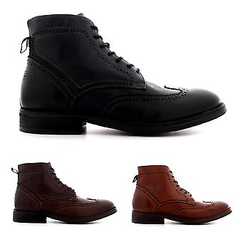 Mens H By Hudson Anderson Leather Work Smart Brogue Lace Up Ankle Boots