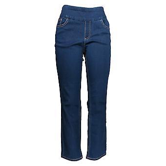 Denim & Co. Damen's Petite Jeans Soft Stretch Smooth Waist Blue A342014