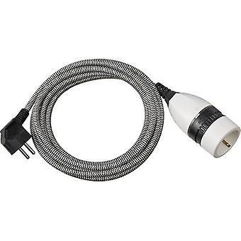 Brennenstuhl 1161830 Current Cable extension Black, White 3.00 m Fabric sleeve, incl. On/Off switch