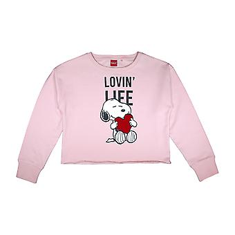 Peanuts Snoopy Lovin Life Reversible Sequin Women's Cropped Sweatshirt | Official Merchandise