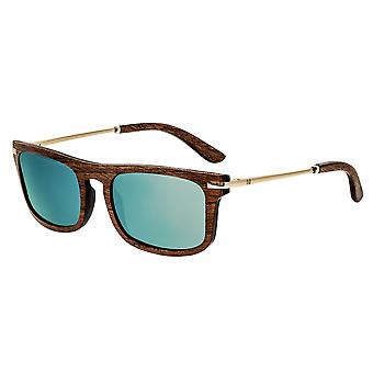Earth Wood Queensland Polarized Sunglasses - Brown/Blue