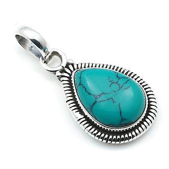 Ketju riipus Amulet Hopea 925 Sterling Hopea Turkoosi Sininen Vihreä Kivi (No: MAH 107-15)