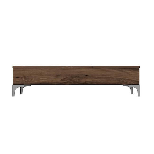 Table basse-apos; Noyer de couleur Delinda en puce melaminique, métal 121x60x30 cm