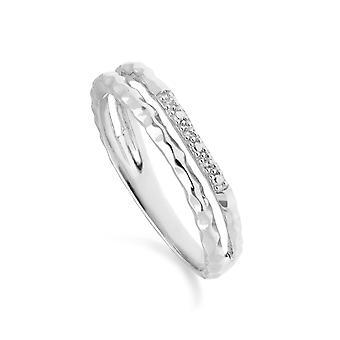 Diamant Pavé gehämmert Doppelband Ring in 9ct Weißgold 162R0395019