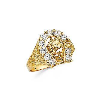 14k Sárga Arany CZ Cubic Cirkónia szimulált Diamond Lucky Patkó Férfi Gyűrű Méret 10 Ékszer Ajándékok férfiaknak
