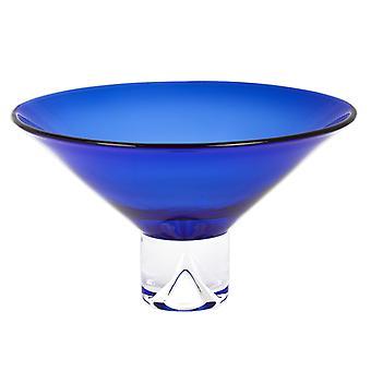 "12"" Mundblæst krystal kobolt blå centerpiece skål"