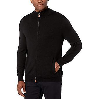 Brand - Buttoned Down Men's Italian Merino Wool Full-Zip Sweater, Blac...