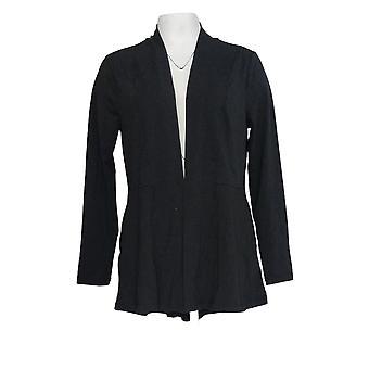 Isaac Mizrahi Live! Frauen's Top Open Front Cardigan W/Taschen Schwarz A376851