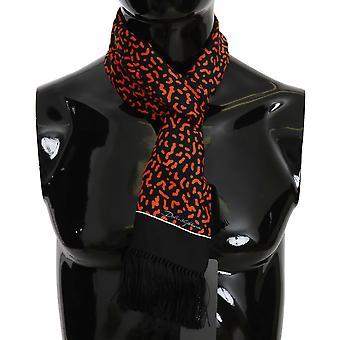 Dolce & Gabbana Negru & Orange Imprimate Silk Mens Eșarfă MS5096