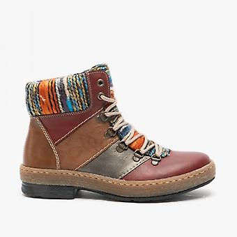 Rieker Z6744-35 Ladies Casual Ankle Boots Red Combination